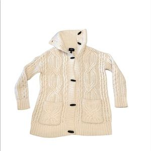 AE Cable Knit High Neck Wool Blend Cardigan